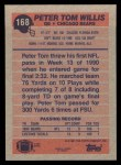 1991 Topps #168  Peter Tom Willis  Back Thumbnail