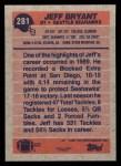 1991 Topps #281  Jeff Bryant  Back Thumbnail