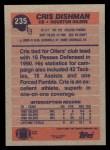 1991 Topps #235  Cris Dishman  Back Thumbnail