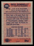 1991 Topps #284  Rick Donnelly  Back Thumbnail