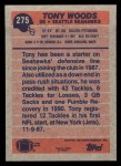 1991 Topps #275  Tony Woods  Back Thumbnail