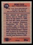 1991 Topps #170  Ron Cox  Back Thumbnail
