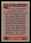 1991 Topps #216  Clyde Simmons  Back Thumbnail