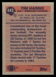 1991 Topps #443  Tim Harris  Back Thumbnail