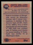 1991 Topps #389  Keith Millard  Back Thumbnail
