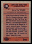 1991 Topps #399  Lomas Brown  Back Thumbnail