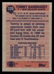 1991 Topps #320  Tommy Barnhardt  Back Thumbnail