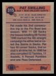 1991 Topps #315  Pat Swilling  Back Thumbnail
