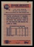 1991 Topps #333  Duane Bickett  Back Thumbnail