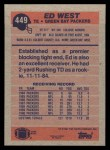 1991 Topps #449  Ed West  Back Thumbnail