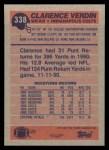 1991 Topps #338  Clarence Verdin  Back Thumbnail