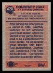 1991 Topps #428  Courtney Hall  Back Thumbnail