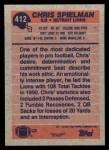 1991 Topps #412  Chris Spielman  Back Thumbnail