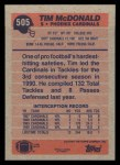 1991 Topps #505  Tim McDonald  Back Thumbnail