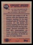 1991 Topps #620  Vincent Brown  Back Thumbnail