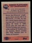 1991 Topps #549  Simon Fletcher  Back Thumbnail
