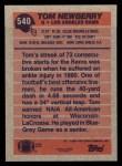 1991 Topps #540  Tom Newberry  Back Thumbnail