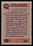 1991 Topps #522  Rod Saddler  Back Thumbnail