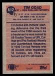 1991 Topps #612  Tim Goad  Back Thumbnail