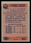 1991 Topps #521  Lonnie Young  Back Thumbnail