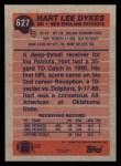 1991 Topps #627  Hart Lee Dykes  Back Thumbnail