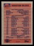 1991 Topps #637   Oilers Leaders Back Thumbnail