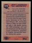 1991 Topps #470  Jeff Lageman  Back Thumbnail