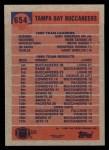 1991 Topps #654   Buccaneers Leaders Back Thumbnail