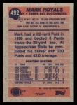 1991 Topps #492  Mark Royals  Back Thumbnail