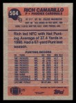 1991 Topps #504  Rich Camarillo  Back Thumbnail
