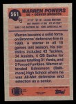 1991 Topps #561  Warren Powers  Back Thumbnail