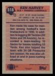 1991 Topps #518  Ken Harvey  Back Thumbnail