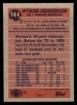 1991 Topps #564  Wymon Henderson  Back Thumbnail