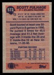 1991 Topps #573  Scott Fulhage  Back Thumbnail
