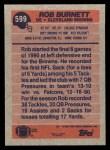 1991 Topps #599  Rob Burnett  Back Thumbnail