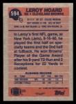 1991 Topps #594  Leroy Hoard  Back Thumbnail