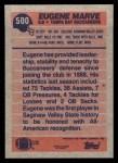 1991 Topps #500  Eugene Marve  Back Thumbnail