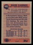 1991 Topps #483  Mark Carrier  Back Thumbnail