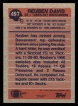 1991 Topps #497  Reuben Davis  Back Thumbnail