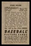 1952 Bowman #137  Stan Rojek  Back Thumbnail