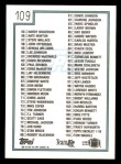 1992 Topps #109   Checklist 1-110 Back Thumbnail