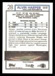1992 Topps #28  Alvin Harper  Back Thumbnail