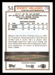 1992 Topps #34  Randy Hilliard  Back Thumbnail