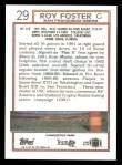 1992 Topps #29  Roy Foster  Back Thumbnail
