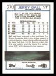 1992 Topps #270  Jerry Ball  Back Thumbnail