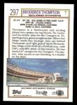 1992 Topps #297  Broderick Thompson  Back Thumbnail