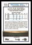 1992 Topps #399  Michael Ball  Back Thumbnail
