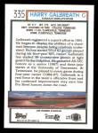 1992 Topps #335  Harry Galbreath  Back Thumbnail