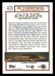 1992 Topps #409  Jim Dombrowski  Back Thumbnail