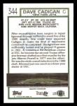 1992 Topps #344  Dave Cadigan  Back Thumbnail